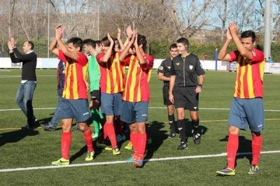 Eix. Els jugadors del FC Vilafranca celebrant la victòria