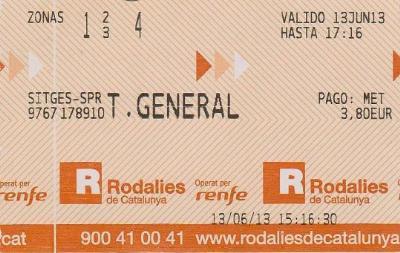 EIX. Bitllet de Rodalies