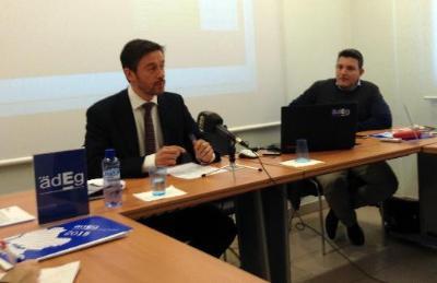 Roger Vives. Presentació de  l'informe de conjuntura econòmica de l'Associació d'Empresaris de l'Alt Penedès, el Baix Penedès i el Garraf (Adeg)