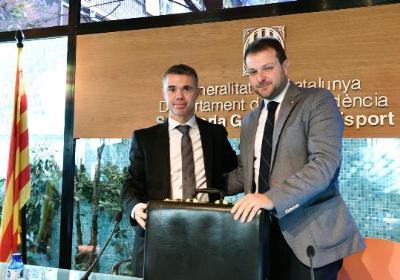 Gerard Figueras pren possessió com a nou secretari general de l'Esport. Jordi Estruch