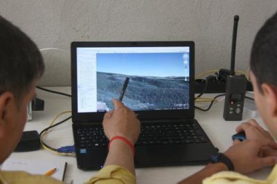 Imatge d'un dels ordinadors des d'on els ADF de Subirats controlen els boscos de la comarca. ACN