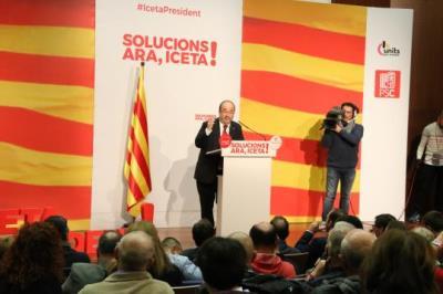 Imatge general del míting del candidat del PSC, MIquel Iceta, a Vilanova i la Geltrú. ACN