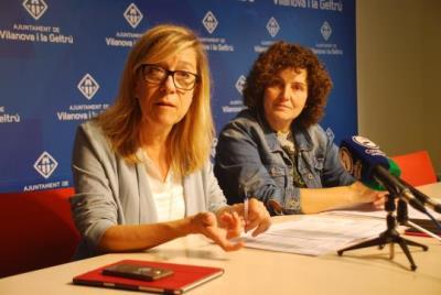 Neus Lloveras i Teresa Llorens, en roda de premsa. Míriam de Lamo