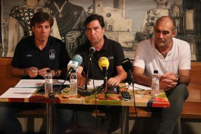 Pla obert dels presidents dels Castellers de Vilafranca, la Vella de Valls i els Minyons de Terrassa en roda de premsa conjunta. ACN
