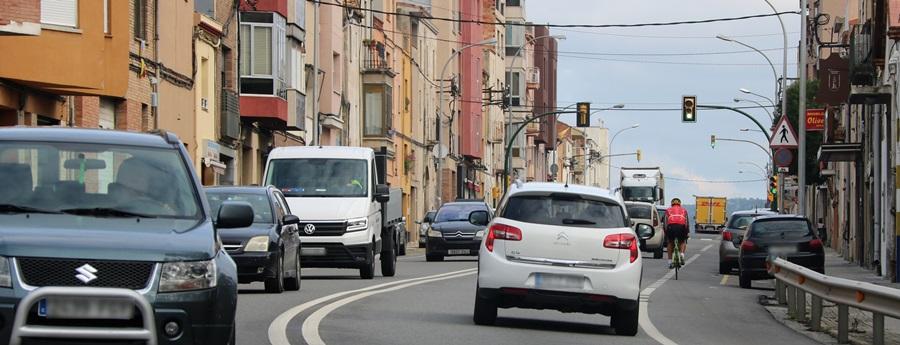 Pla general de l'N-340 al pas per l'Arboç, creuant pel centre del municipi