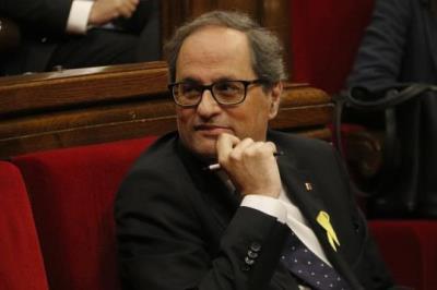 El president de la Generalitat, Quim Torra, en un pla mig, el 25 de maig de 2018 . ACN