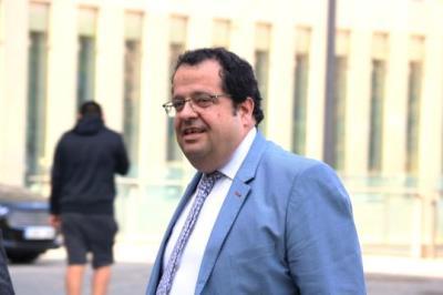 L'excoordinador del Pacte Nacional pel Referèndum, Joan Ignasi Elena, arriba al jutjat d'instrucció número 13 de Barcelona, a Ciutat de la Justícia. A