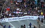 Milers de persones es manifesten a Barcelona pel 8-M sota el lema 'Ens aturem per canviar-ho tot'