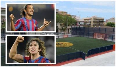 Ronaldinho i Carles Pujol inauguren demà dimecres el camp de futbol Cruyff Court de les Roquetes. EIX