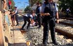 Detingut un dels manifestants del tall de vies del tren a Vilanova