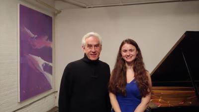 Edward Epstein i Laura Farré Rozada després del recital de la pianista a la GALLERY345 de Toronto. EIX