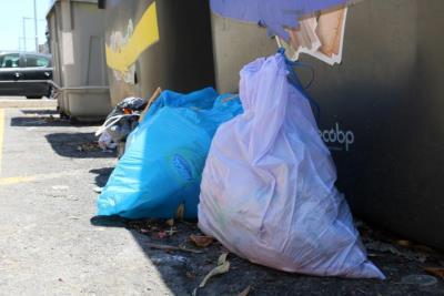 Pla detall de bosses de la brossa llençades fora dels contenidors de Calafell. ACN