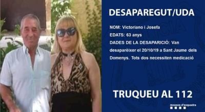 Troben mort un matrimoni desaparegut diumenge a Sant Jaume dels Domenys. Mossos d'Esquadra
