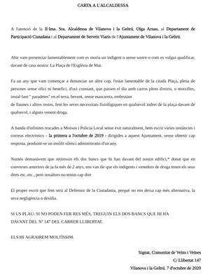 Carta de la Comunitat de veïnes del carrer Llibertat 147
