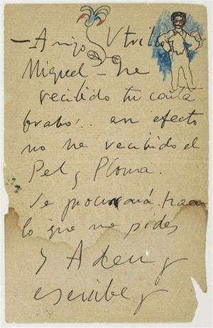 El Museu Picasso adquireix una carta de Pablo Picasso al seu amic sitgetà Miquel Utrillo