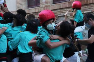 Els Castellers de Vilafranca aixequen castells de 7 després de dos anys d'aturada